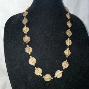 Vintage gold tone and black beaded necklace